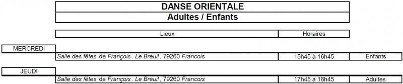 Planning Danse Orientale 18 19