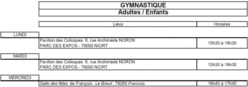 Planning Gym 18 19