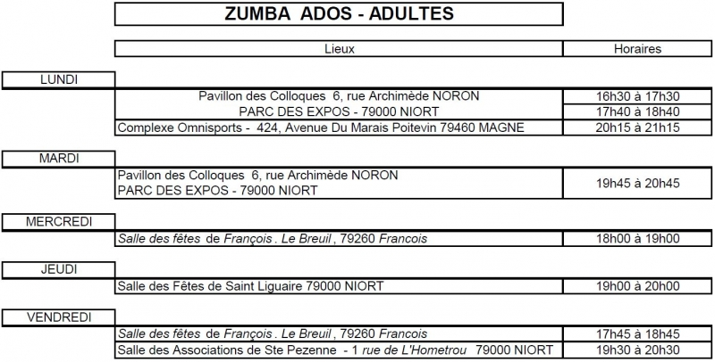 Planning Zumba Fitness 18 19