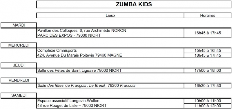 Planning Zumba Kids 18 19