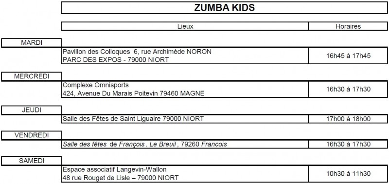 Planning Zumba Kids 19 20